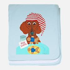 Dachshund Guarding Santa's Cookies baby blanket