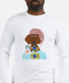 Dachshund Guarding Santa's Cookies Long Sleeve T-S