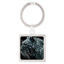 B&W Leopard Square Keychain