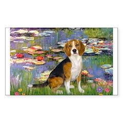 Lilies (#2) - Beagle #7 Sticker (Rectangle)