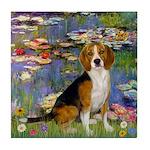 Lilies (#2) - Beagle #7 Tile Coaster