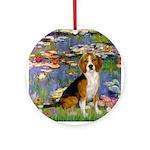 Lilies (#2) - Beagle #7 Ornament (Round)