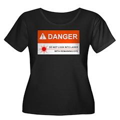 DANGER Women's Plus Size Scoop Neck Black T