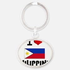 I HEART PHILIPPINES FLAG Oval Keychain