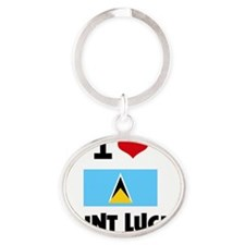I HEART SAINT LUCIA FLAG Oval Keychain