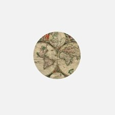 Antique Old World Map Mini Button