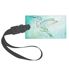 Aqua Hummingbird Watercolor Luggage Tag