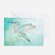 Aqua Hummingbird Watercolor Greeting Card