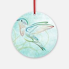 Aqua Hummingbird Watercolor Round Ornament