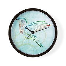 Aqua Hummingbird Watercolor Wall Clock
