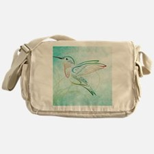 Aqua Hummingbird Watercolor Messenger Bag