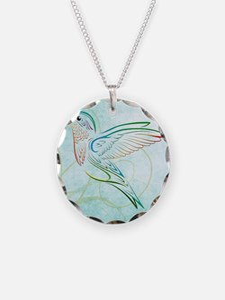 Aqua Hummingbird Watercolor Necklace