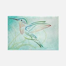 Aqua Hummingbird Watercolor Rectangle Magnet