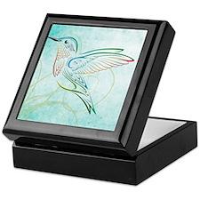 Aqua Hummingbird Watercolor Keepsake Box