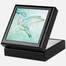 Aqua Hummingbird Watercolor Keepsake Box