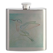 Aqua Hummingbird Watercolor Flask