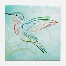 Aqua Hummingbird Watercolor Tile Coaster