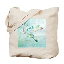 Aqua Hummingbird Watercolor Tote Bag