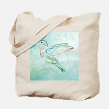 Aqua Hummingbird Watercolor Tote Bag
