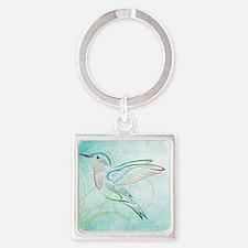 Aqua Hummingbird Watercolor Square Keychain