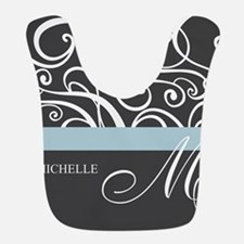 Elegant Grey White Swirls Monogram Bib