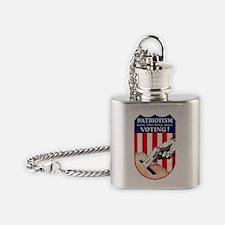 PATRIOTISM MEANS VOTING Flask Necklace