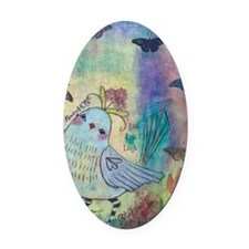 Mixed Media Blue Bird Oval Car Magnet