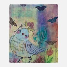Mixed Media Blue Bird Throw Blanket