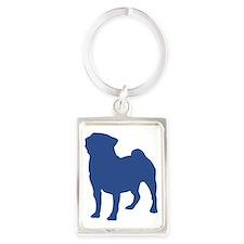 blue pug Portrait Keychain