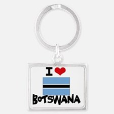 I HEART BOTSWANA FLAG Landscape Keychain