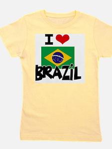 I HEART BRAZIL FLAG Girl's Tee