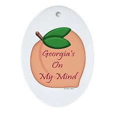 Georgia Minded Peach Oval Ornament