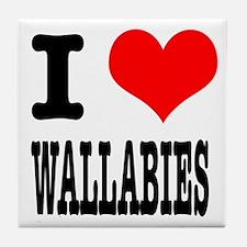 I Heart (Love) Wallabies Tile Coaster