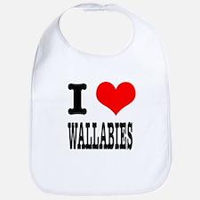 I Heart (Love) Wallabies Bib
