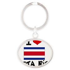I HEART costa rica FLAG Oval Keychain