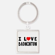 I Love Badminton Square Keychain