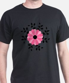 Pink and Black Daisy Flower T-Shirt