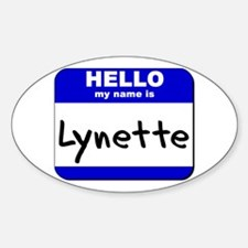 hello my name is lynette Oval Decal