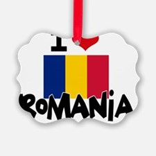 I HEART ROMANIA FLAG Ornament