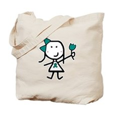 Girl & Teal Ribbon Tote Bag