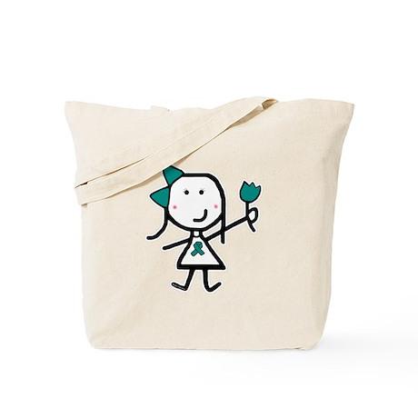 Girl & Teal Ribbon Tote Bag