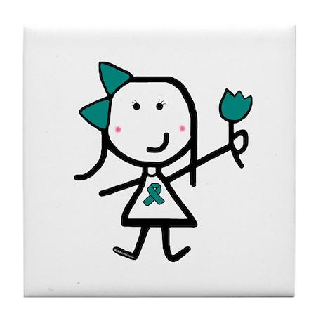 Girl & Teal Ribbon Tile Coaster