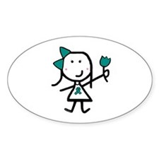 Girl & Teal Ribbon Oval Decal