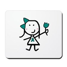 Girl & Teal Ribbon Mousepad
