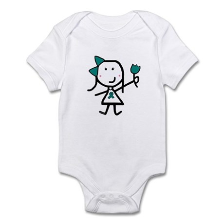 Girl & Teal Ribbon Infant Bodysuit