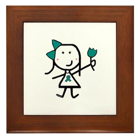 Girl & Teal Ribbon Framed Tile
