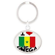 I HEART SENEGAL FLAG Oval Keychain