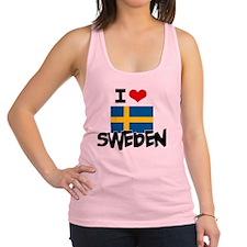 I HEART SWEDEN FLAG Racerback Tank Top