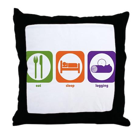 Eat Sleep Logging Throw Pillow