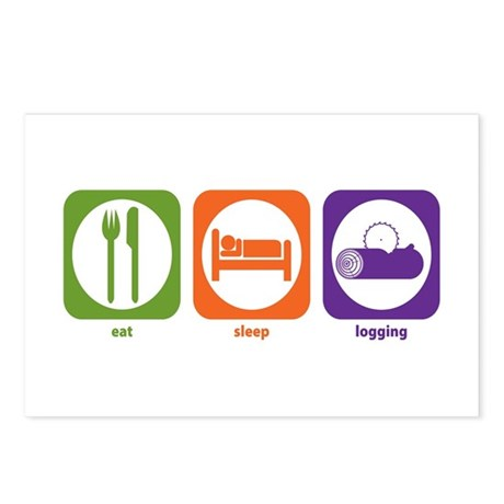 Eat Sleep Logging Postcards (Package of 8)